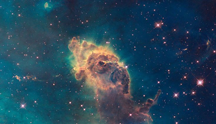WFC3 visible image of the Carina Nebula Composed of gas and dust, the pictured pillar resides in a tempestuous stellar nursery called the Carina Nebula, located 7500 light-years away in the southern constellation of Carina.