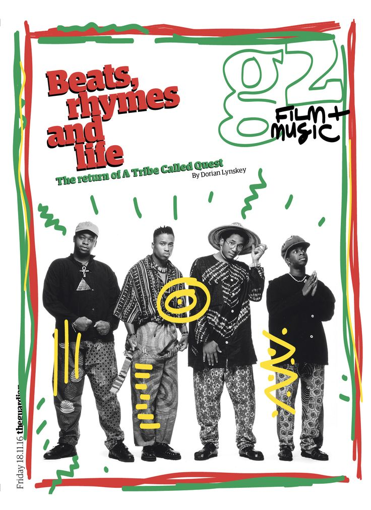 Guardian g2 film&music cover: The return of A Tribe Called Quest #editorialdesign #newspaperdesign #graphicdesign #design #theguardian