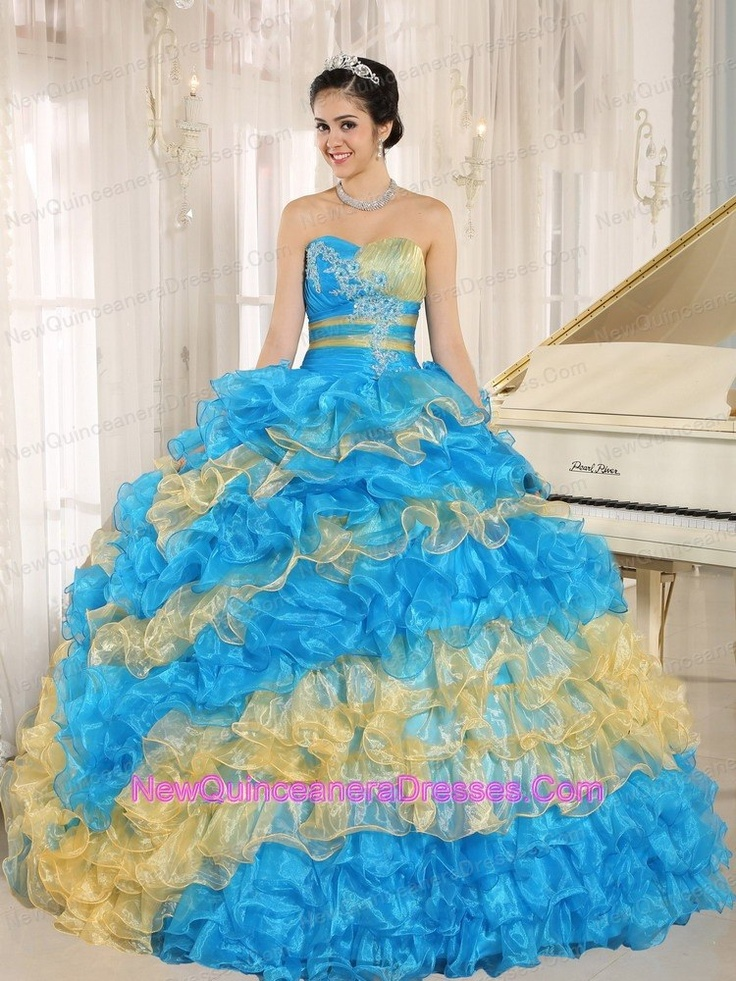 ball gown dress in blue and yellow color