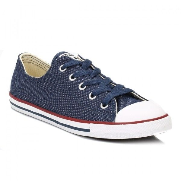Womens Navy Dainty All Star Low Trainers (43,605 KRW) ❤ liked on Polyvore featuring shoes, sneakers, navy trainers, low top shoes, navy shoes, navy sneakers and converse footwear
