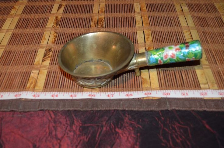 Asian Brass Ladle/Scoop Cherry Blossom Design with Enamel Handle