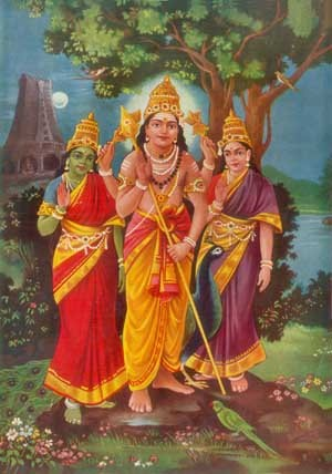 Muruga with consorts Devasena & Valli. Maha Visnu's daughters were Sundaravalli and Amirtavalli. They performed penance and Lord Muruga appeared before them. Both of them wanted to marry him. He said that Amirtavalli would be born as Devasena, the daughter of Indra and Sundaravalli would be born to Veddas as Valli and then he would marry them both. The consorts are Muruga's Sakthi representing divine and wordly energies.