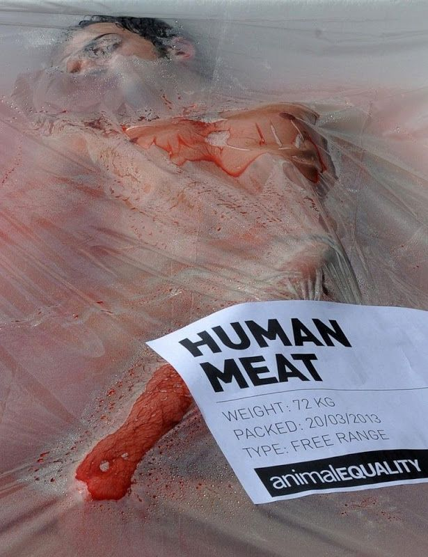 """Animal rights activists from the group """"Animal Equality"""" staged a demonstration in Barcelona, Spain, in front of the Cathedral of Barcelona,..."""