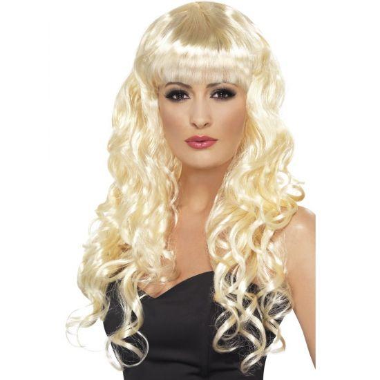 Blonde dames pruik met krullen lang haar. Ga verkleed als o.a. Christina Aguilera look a like met deze lange blonde damespruik.