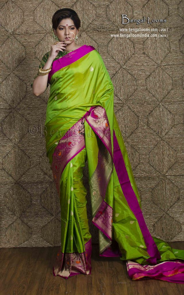 5c497db0c09be9 Pure Katan Silk Banarasi Sari in Parrot Green