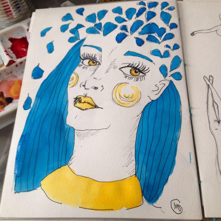 Pétalas - por Camila Szabo  Ilustração em aquarela e nanquim.