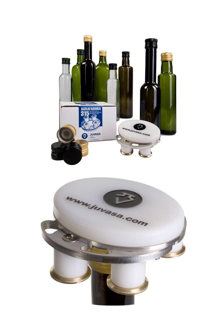 Consigue un cierre inviolable (seguro y protegido) para tu botella de aceite. Con la #Agrafadora 315 podrás agrafar (apretar) el precinto del tapón al cuello de la #botella.