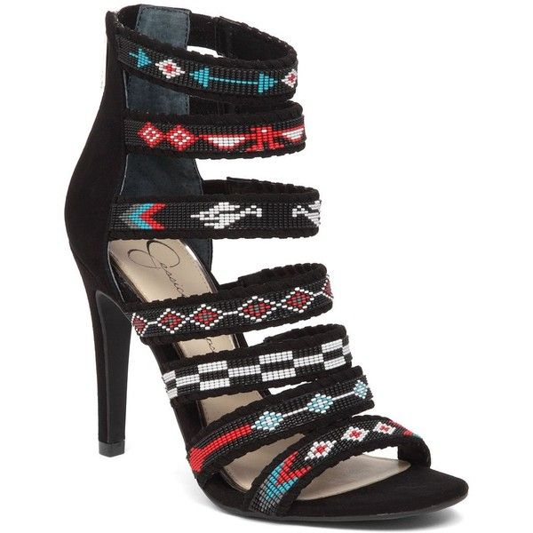 Jessica Simpson Women's Erienne Beaded Sandals ($60) ❤ liked on Polyvore featuring shoes, sandals, black, zip shoes, black beaded sandals, rubber sole shoes, colorful shoes and multi coloured sandals