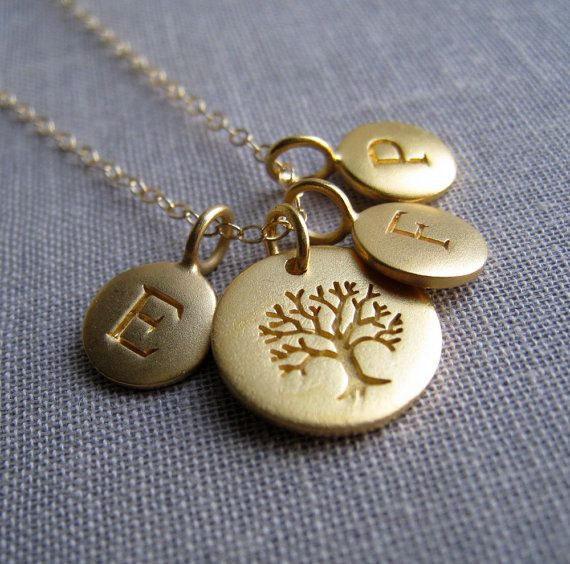 Personalized family tree necklace, gold family initial necklace, tree of life charm, mothers necklace, mommy necklace, grandmother via Etsy