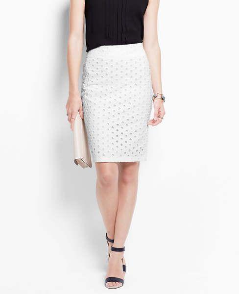 Cotton Eyelet Pencil Skirt | Ann Taylor