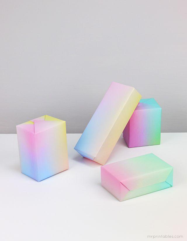 Imprimible papel con degradado de color >> Gift wraps (with sky gradient printable papers) | Mr Printables