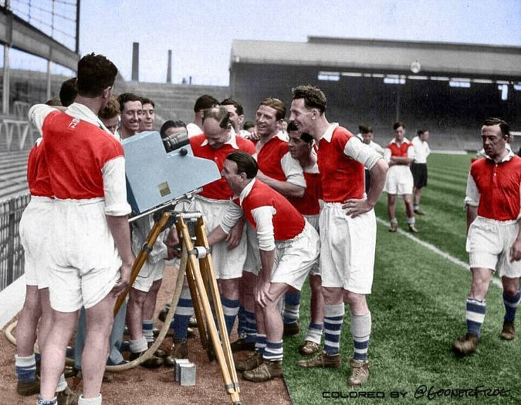 Arsenal players getting acquainted with the TV cameras in the 1930s.