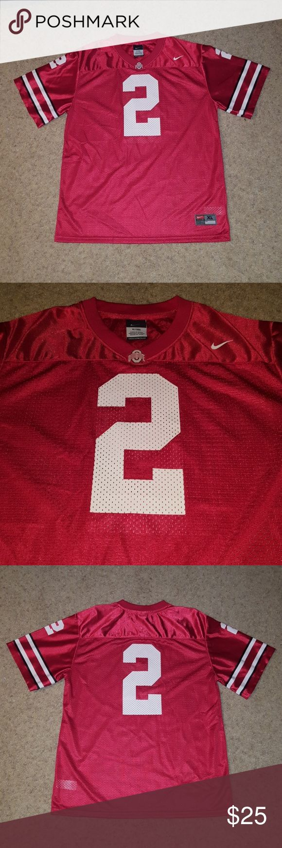 New - Ohio State Football Nike Jersey Nike Ohio State Football Jersey #2. In absolutely perfect condition. Numbers on front, back, shoulders and shoulder stripes are pristine. No flaws/tears/stains. Never worn. Size XL, Size 20. Nike Shirts & Tops
