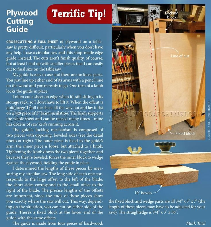Plywood Cutting Guide - Circular Saw Tips, Jigs and Fixtures | WoodArchivist.com