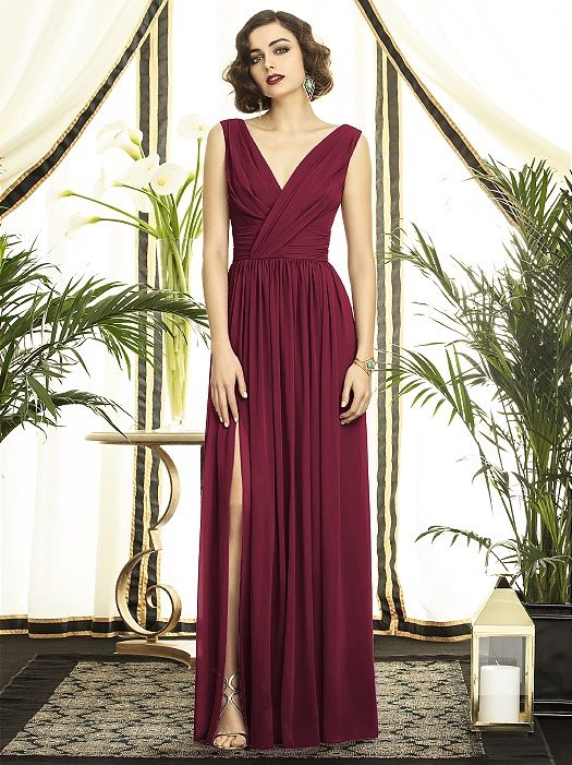 Full length v-neck lux chiffon dress with draped detail at neckline and slight shirring at front skirt. http://www.dessy.com/dresses/bridesmaid/2894/