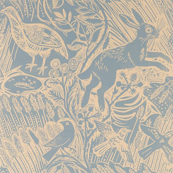 Harvest Hare Wallpaper Excellent lino print wallpaper with Mark ...