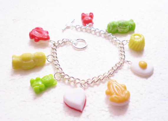 Jelly Candy Charm Bracelet.  Polymer clay. by GiraffesKiss on Etsy