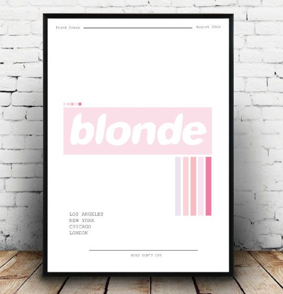 Massive fan of Frank ocean and his album art, so I decided to recreate Blonde in my own style! fab colours have been used to create a retro style and not to take away too much from the original blonde album art! Great alternative gift for the Frank Ocean lover, also available in pink + white tones, see what I did there ;) Why not make your own gallery wall with my prints! they all work lovely together!  Give the gift of art this christmas! DETAILS:  - A3 in size  - Printed onto 210 GSM silk…