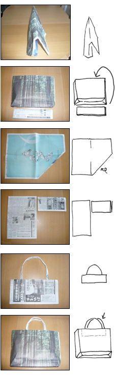 ハート 折り紙 新聞紙 袋 折り方 : jp.pinterest.com