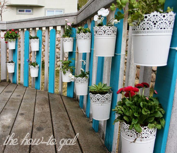 Vertical herb garden for a backyard using #chalkyfinish chalk paint.