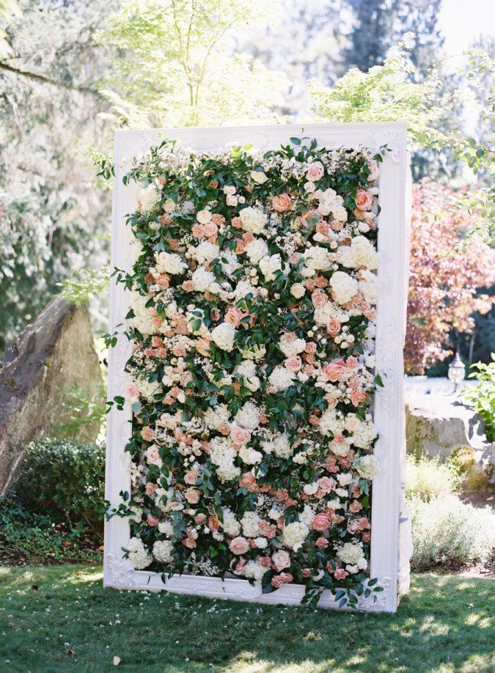 Floral wall for wedding ceremony decor