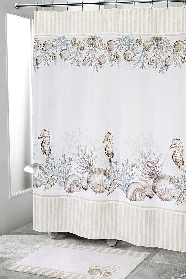 Destin Coastal Seashell Shower Curtain In 2020 Seashell Shower