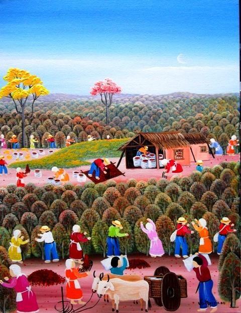VALQUIRIA BARROS TEMA CAFÉ BRASIL A VENDA COM AJUR SP (Painting),  40x30 cm por Arte Naif AJUR SP VENDEDOR E DIVULGADOR DA ARTE NAIF BRASILEIRA