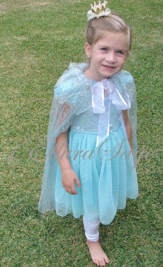 Elsa Cape, Frozen Queen Elsa Cape, Aqua Sparkle Frozen Cape, Girls Frozen Cape For Halloween Costumes and Playing Dress-Up, Princess Cape