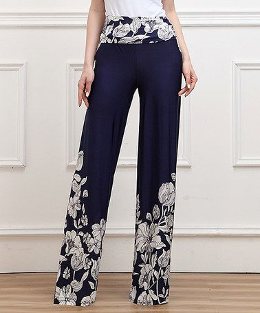 Love this Navy Floral High-Waist Palazzo Pants by Reborn Collection on #zulily! #zulilyfinds