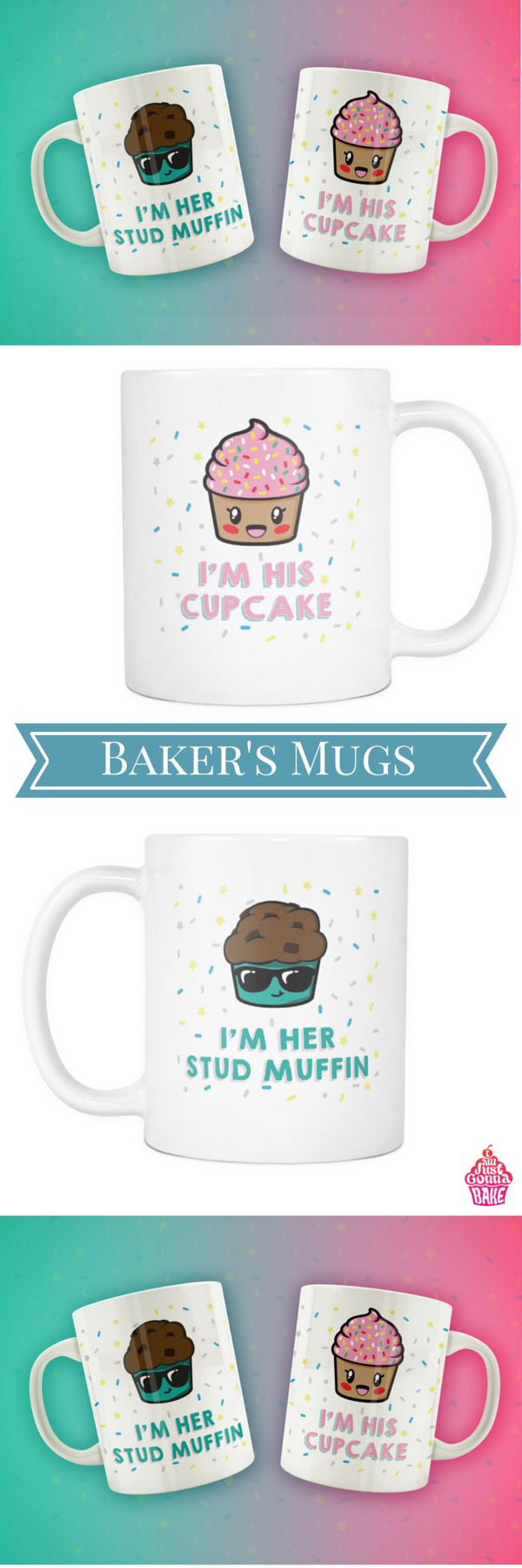 We know you love baking, but we are also pretty sure there is a significant other who supports you (well, maybe not always) :) These mugs are for you guys. Available here: https://www.iamjustgonnabake.com/products/cupcake-and-stud-muffin?variant=21664075907