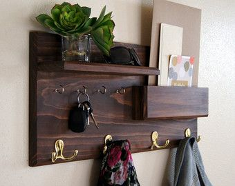 Coat and Key Hooks Entryway Organizer Mail by MidnightWoodworks