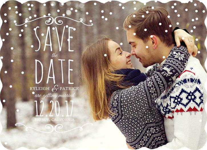 Whimsical Winter Snow Save The Date Postcard by WeddingPaperie.com. Plus, #funnysavethedatewordingideas #funnysavethedates #wintersavethedates