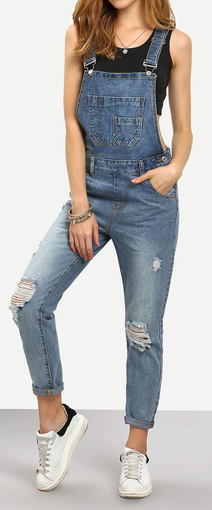 Ripped Stone Wash Denim Overall Jeans