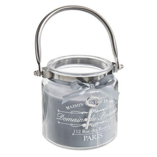 Bougie lanterne grise H 10 cm ARISTO