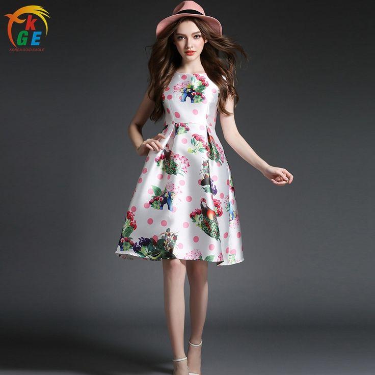 Дешевое Мода женские платья простота пр стиль рукавов длиной до колен летнее платье в горошек джунгли отпечатано линия H127, Купить Качество Платья непосредственно из китайских фирмах-поставщиках:                  Особенности: 100% новый. Материал: атлас        Цвет: п