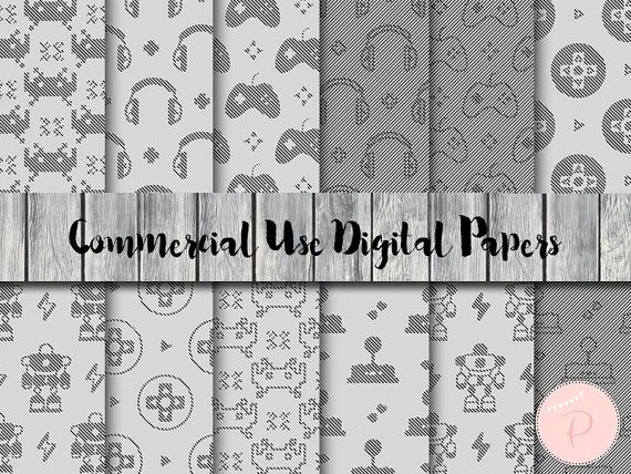 Game Digital Paper Black and White Gamer Instant by MagicalStudio