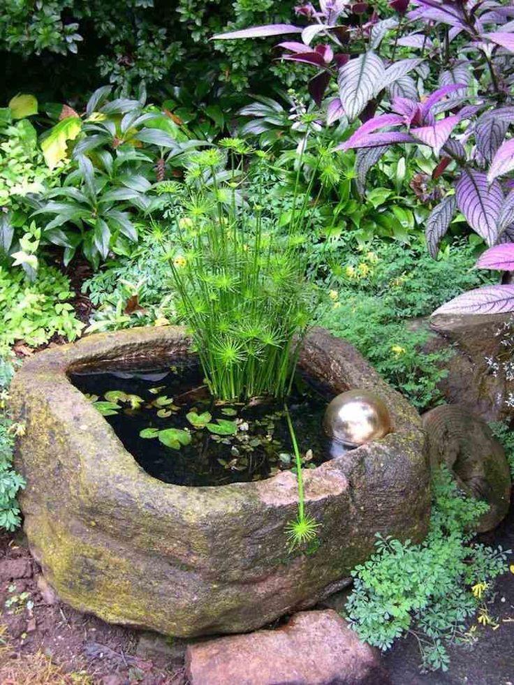 mini bassin décoratif en conteneur de pierre naturelle avec des plantes aquatiques