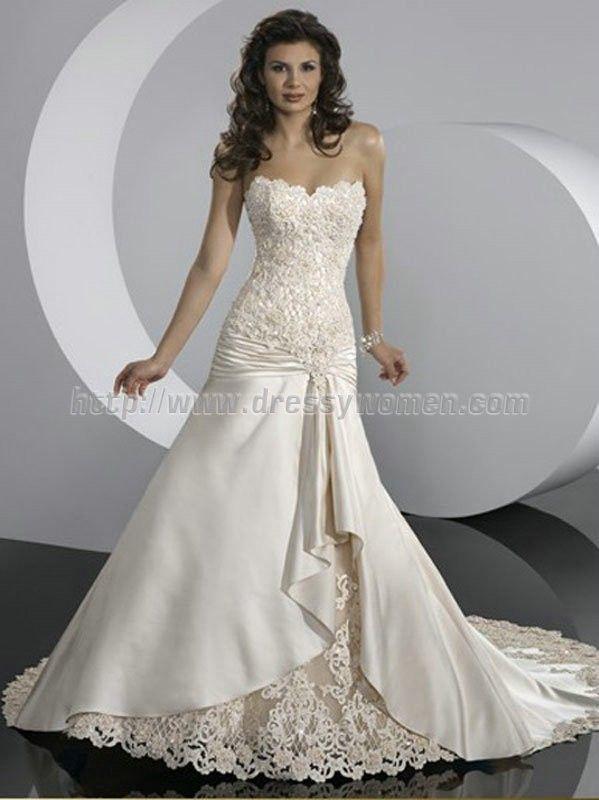 Buy Glamorous Mermaid/Trumpet Jewel Lace Wedding Dresses LAWD-30032 Wedding Dresses under $377.99 only in Dressywomen.