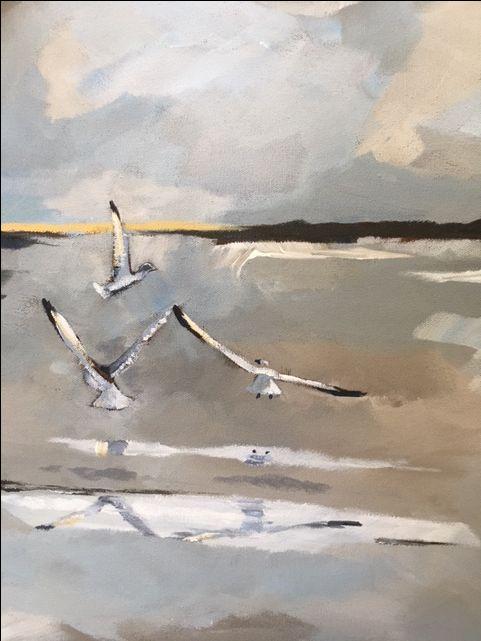 Threegulls. Acrylic on canvas