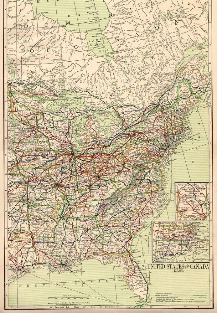 Details About 1916 Antique United States Map Vintage Projected