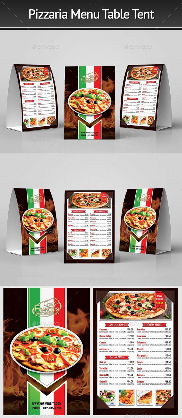 Pizzeria Menu Table Tent 2 - Food Menus Print Templates Download here : https://graphicriver.net/item/pizzeria-menu-table-tent-2/12421850?s_rank=64&ref=Al-fatih