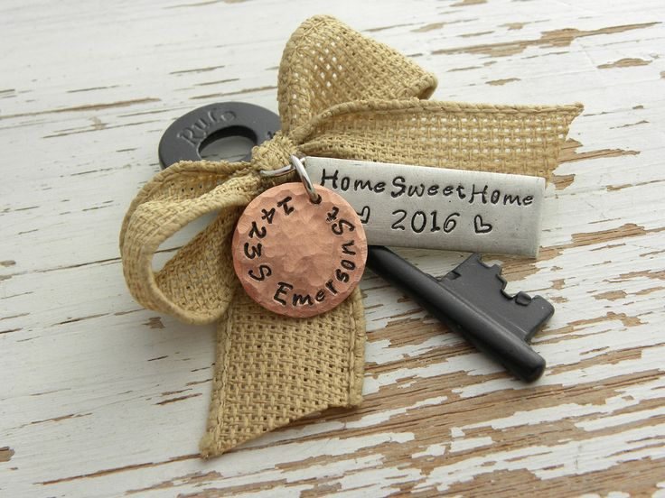 HOME SWEET HOME 2016 skeleton key ornament with address - hand stamped - burlap ribbon - rustic housewarming - new home keepsake - realtor