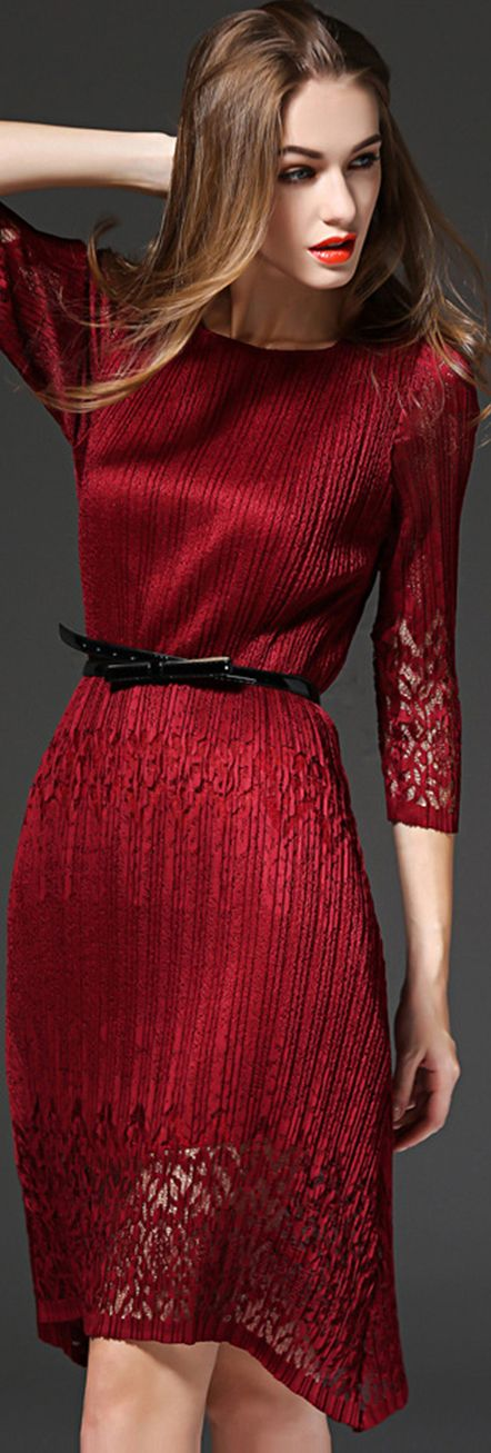 Burgundy Hollow Pintuck Dress