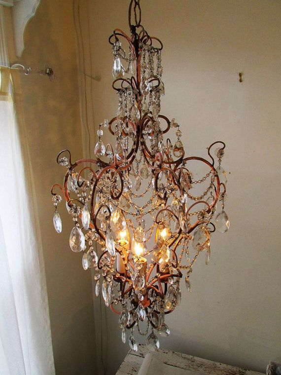 Ornate gold gild chandelier lighting shabby French chic ceiling light w/ crystals and garlands hints of pink home decor anitta spero design & 827 best French Nordic white decor images on Pinterest | White ... azcodes.com