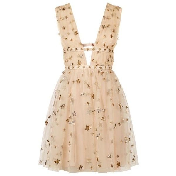 Valentino Star-Embroidered Tulle Mini Dress ($6,290) ❤ liked on Polyvore featuring dresses, plunging neckline dress, cutout dress, short dresses, valentino dresses and mini dress