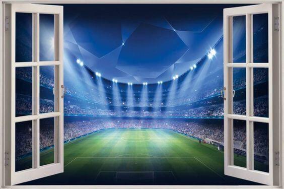 Muursticker voor een voetbalkamer met afbeelding van een voetbalstadion