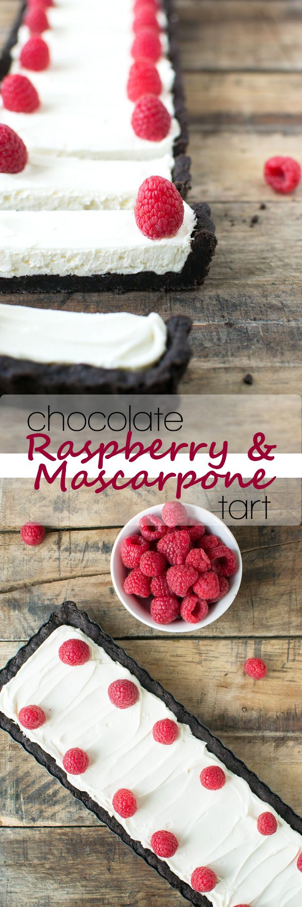 A dark chocolate cookie crust filled with whipped mascarpone and topped with raspberries.  This dessert tart will win hearts for Valentine's Day!