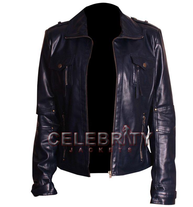 Navy Blue Women Leather Jacket, Blue Leather jacket