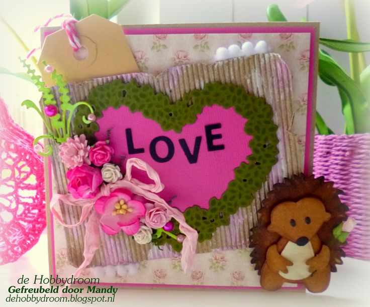 Card by DT member Mandy with Craftables Topiary Heart (CR1302), Mini Alphabet & Garland (CR1281) and Collectables Eline's Hedgehog (COL1368) by Marianne Design