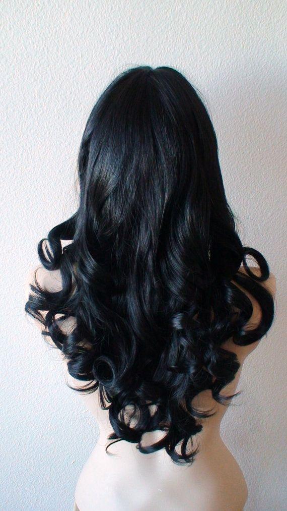 Black wig. Long curly hair wig. Durable Human hair by kekeshop